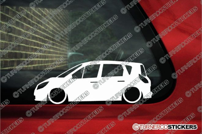 2x Low car outline stickers - Renault Scenic II, 2003–2009